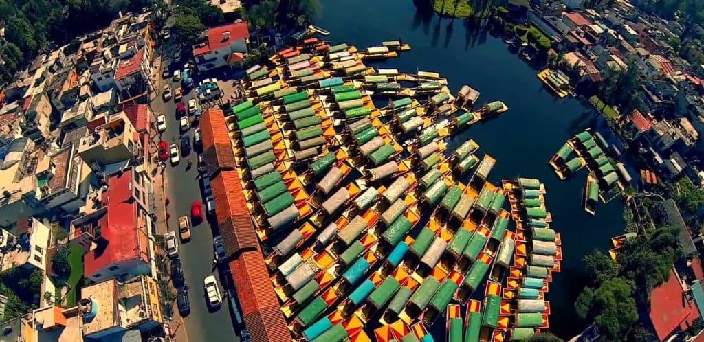 Boats Xochimilco aerial photo