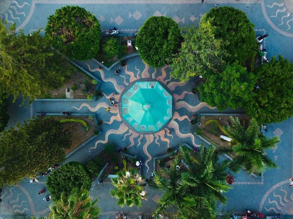Wonderful view of Ajijic Plaza. Aerial photo