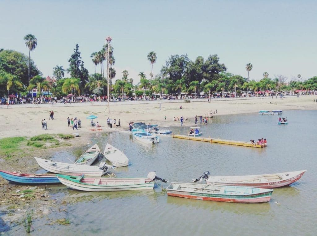 Boats on the water. Lake chapala beach