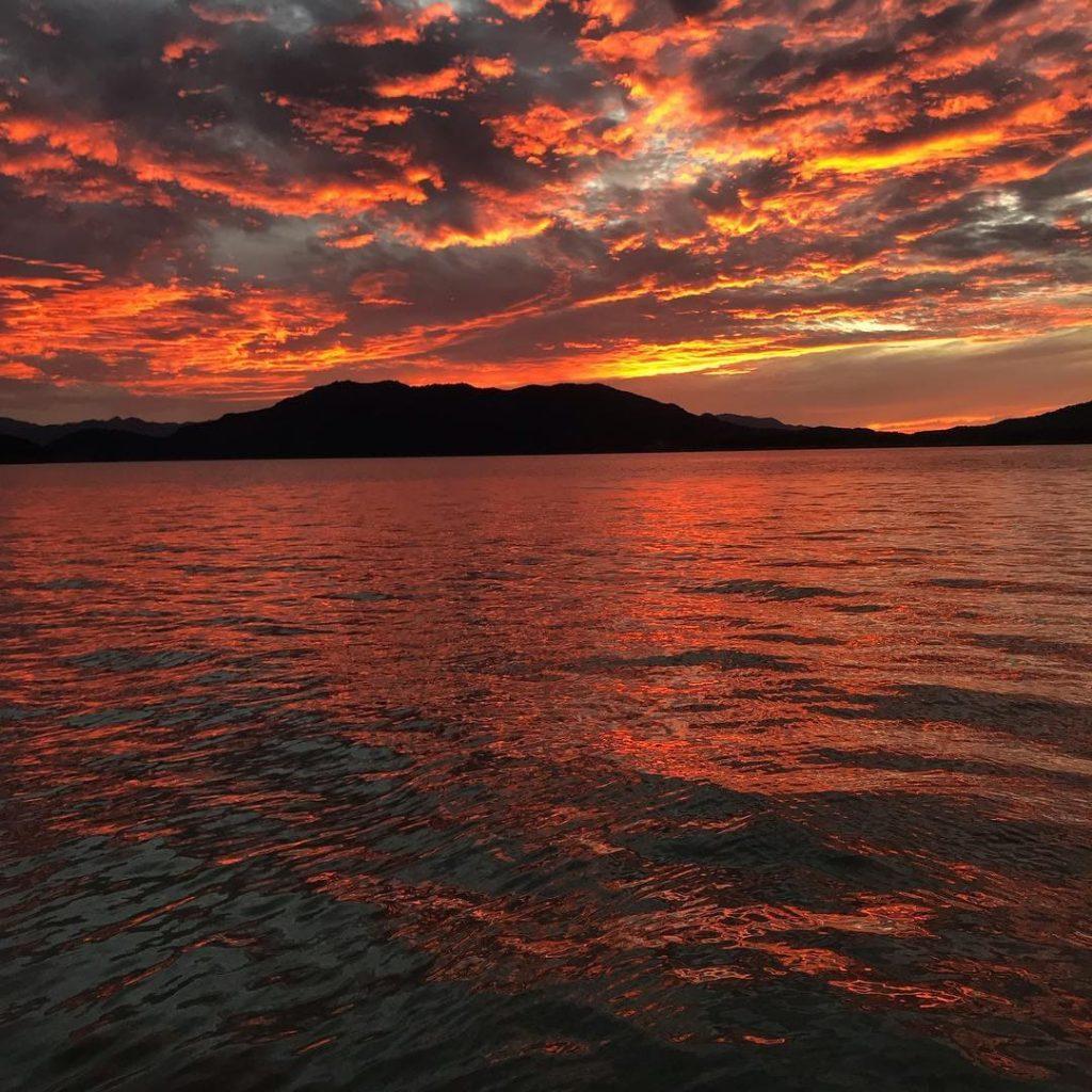 Beautiful sunset on Lake Bacurato