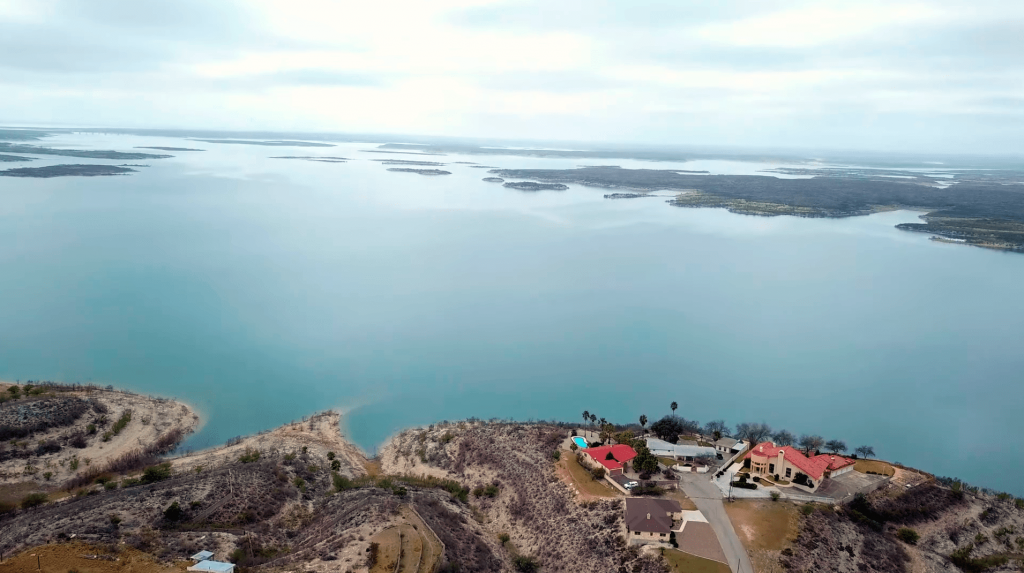 Amista Reservoir aerial panoramic photo